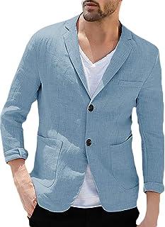 Fueri Men's Linen Suit Jacket Summer Lightweight Jacket Slim Fit Two Buttons Men Sporty Leisure Blazer