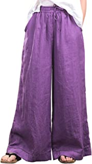 Les umes Women's 100 Linen Loose Pants Wide Leg with Elastic Waist Casual Long Trousers