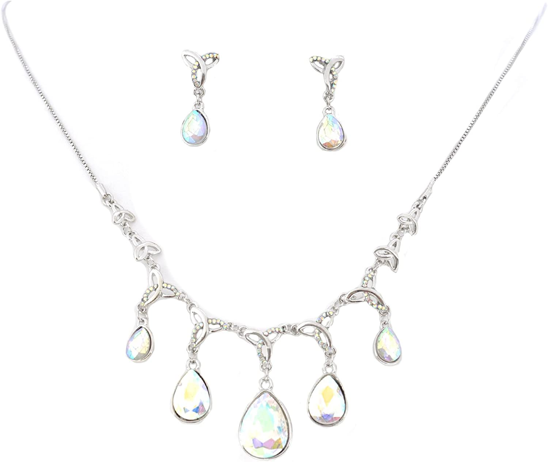 Topwholesalejewel Wedding Jewelry Set Rhodium Aurora Borealis Necklace Earring Set