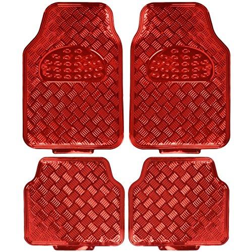 BDK MT-641-RD Red Universal Fit 4-Piece Set Metallic Design Car Floor Mat-Heavy Duty All Weather...
