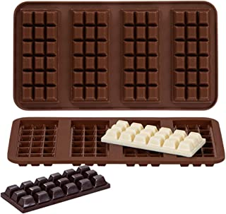 Webake Chocolate Bar Mold Silicone Break-Apart Candy Molds for 1 Ounce Chocolate Chunk Protein Energy Bar Candy Bar, Food Grade, Easy Release Candy Molds Baking Pan, Pack of 2