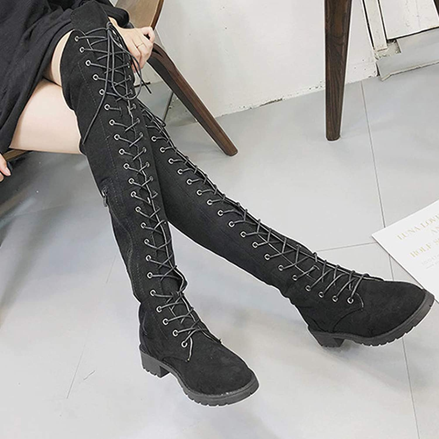 Boots Women Cross-Tied Platform shoes High Boots,Women Over The Knee Boots Flat Heel,Black,39