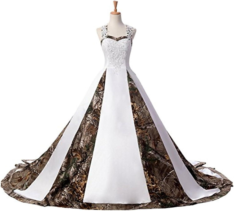 Zhu Li Ya Women's Appliques Satin Ball Gown Camouflage Wedding Dress