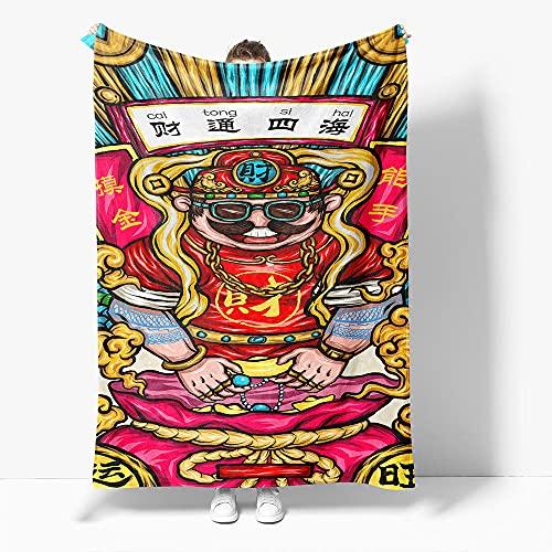 Manta Bebe Estilo Chino Rojo Mantas para Cama de Franela, Manta Sofa de Microfibra Suave y Cálida, Manta Forro Polar de Invierno - 100x130 cm