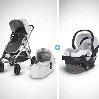 UPPAbaby Vista Stroller-Bryce (White Marl/Silver/Chestnut Leather)+MESA Infant Car Seat-Bryce(White & Grey Marl), Bryce