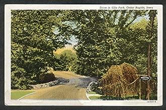 Shakespeare Garden Drive in Ellis Park Cedar Rapids IA postcard 1930s