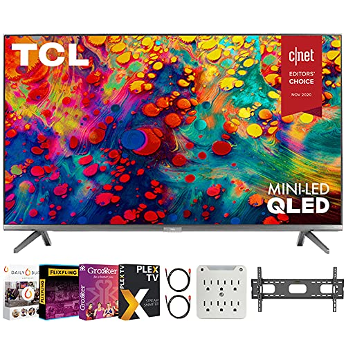 TCL 65R635 65 inch 6-Series 4K QLED Dolby Vision HDR Roku Smart TV Bundle with Premiere Movies Streaming 2020 + 37-100 Inch TV Wall Mount + 2X 6FT 4K HDMI 2.0 Cable + 6-Outlet Surge Adapter