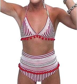 「シャオユウイ」ビキニ, 女性のハイウエストツーピースビキニストライププリント水着