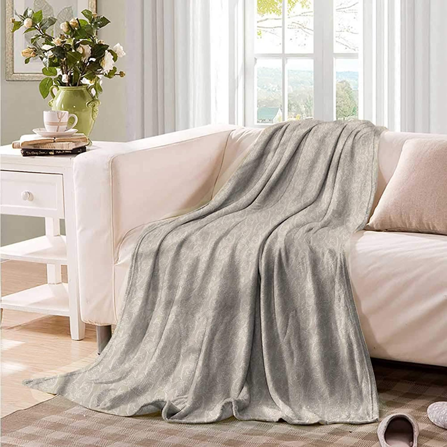 Oncegod Flannel Blanket Taupe and White Outline Flowers Camping Throw,Office wrap 60  W x 51  L