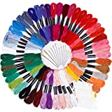 Paxcoo 50 Skeins Embroidery Floss Cross Stitch Supplies Cross Stitch Thread with 16 Pcs Embroidery Needles and 15 Pcs Floss Bobbins