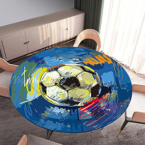 Fansu Impermeable Redondo Mantel con Borde Elástico, 3D Impresión Mantel de Mesa Elástica Ajustada Cubierta de Mesa para Picnic Comedor Cocina Restaurante Cena (Graffiti Azul,Diámetro 170cm)