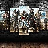 AWER Cuadro En Lienzo Decoracion 5 Piezas Assassins Creed Black Flag Pirate Juego Arte Pared Alta Definición Pintura Decorativa Home Dormitorio Óleo Lona Pintura Mural Regalos(Enmarcado)