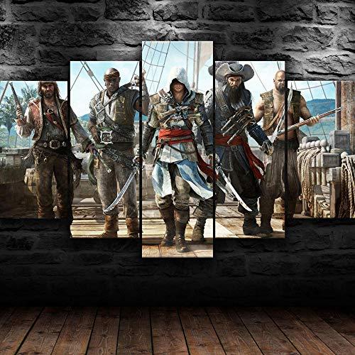 5 piezas de lienzo, pintura de tablero, decoración de pared modular, impresión HD, Assassin's Creed Black Flag Pirate Game, póster adhesivo mural abstracto, decoración moderna del hogar, enmarcado