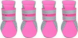 Générique 4 Bottes Hydrofuge Anti-dérapant Chaussures Chaussette Protection pour Animaux Chiot Chien - Rose, S