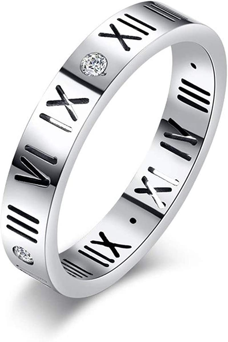 nylry New life 4MM Stainless Steel Roman Numeral Pro Max 53% OFF Band CZ Ring Weeding