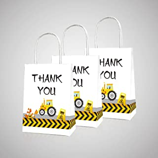 CC HOME Construction Party Supplies,Thanksgiving Gift Goodies Bags,Construction Zone Party Bags ,Traffic Sign Goody Party Favor Bags,Gift Bags,Paper Treat Bags For boys ,Girls Kids Adults Fathers Day,Construction Baby Shower Themed Birthday Party Supplies Decorations, 10 Packs