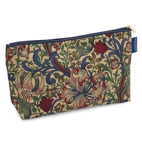 Blue Badge Company luxe katoenen toiletartikelen geval waszak met waterdichte voering, William Morris Golden Lily