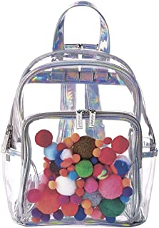 Pom Poms Clear See-Through Classic Style Mini 10 x 7.5 Backpack for Fun and Travel
