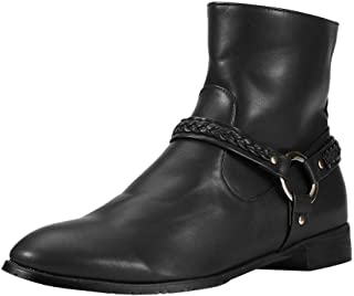 Dermanony Couple's Ankle Boots Large Size British Style Buckle Boots Mid Heel Short Boots Zipper Casual Leather Boots