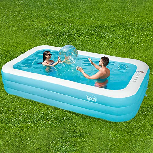 EXQ Home Inflatable Swimming Pool,Full-Sized Family Swimming Pool 120' X 72' X 22',Family Lounge Pool,Backyard Pool for Adults,Indoor and Outdoor Use for Thickened Pool for Summer Water Party