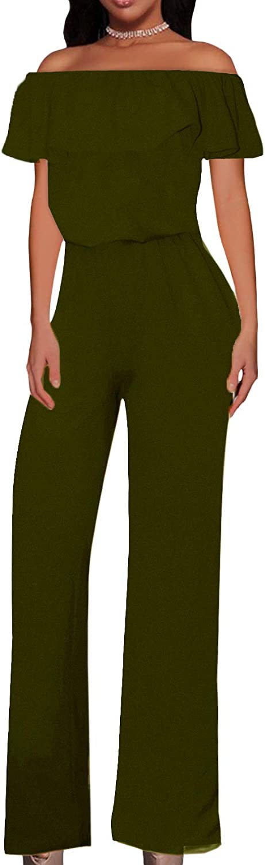Hybrid & Company Women Off Shoulder High Waist Wide Leg Pants Jumpsuit Romper