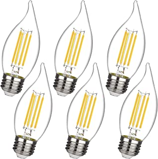 4.5W Dimmable 50W Equivalent LED Candelabra Bulb 2700K Warm White 450LM, E26 Chandelier Base LED Candle Bulbs, CA11/C35 Clear Glass Flame Shape Bent Tip (6 Pack)