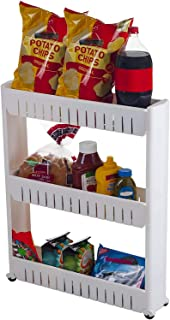HOME CUBE 1 Pc 3 Layer Space Saving Storage Organizer Rack Shelf with Wheels for Kitchen Bathroom Bedroom -White Color