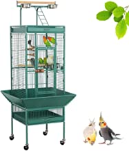 Yaheetech 62-inch Wrought Iron Rolling Large Bird Cages for African Grey Mid-Sized Parrots Cockatiels Indian Ring Neck Sun Parakeet Green Cheek Conure Lovebird Budgie Finch Canary Bird Cage with Stand