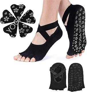 Calcetines de Yoga Antideslizantes para Mujer, Calcetines de Media Punta Pilates Ballet Dance Ballet Taekwondo Guantes de Yoga Antideslizantes Más Estilos para Elegir