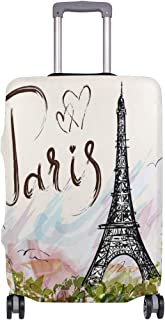 Mydaily Eiffel Tower Vintage Luggage Cover Fits 29-32 Inch Suitcase Spandex Travel Protector XL