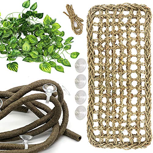 Lizard Bearded Dragon Hammock Set, PETUOL Natural Grass Fibers Pet Recliner, Flexible Bend-A Branch Jungle Climbing Vines for Geckos, Iguanas and Hermit Crabs, Snakes and More Reptiles Perched