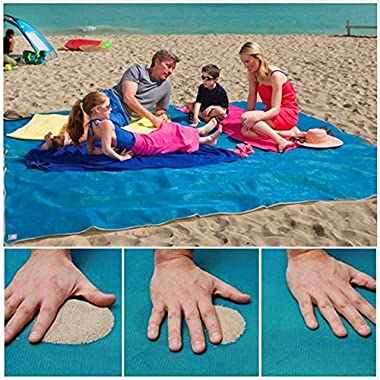 KEKH Sand Free Beach Mat, Sand Proof Mat is Easy to Clean, Compact Outdoor Beach Mat Made by Parachute Nylon. Large 7.87' x 9.35' size. Sand Escape Blanket Includes Built In Anchors & Zippered Pocket.