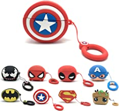 Axanbox 3D Airpods Pro Case, Superhero Cartoon Silicone Airpods 3rd Cover, Shockproof Protective Skin with Keychain Compatible with Airpods Pro (Captain-Shield)