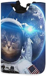 N\A Panier à Linge Espace Chat Chaton Astronaute Panier à Linge Pliable Oxford Sac de vêtements Sales Organisateur de Rang...