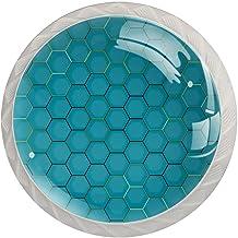 Paddestoel Kabinet Knoppen Geometrische Polygon Blauwe Keuken Kast Handvatten, Kristallen Glas Kast Knoppen 1.37 Inch Lade...