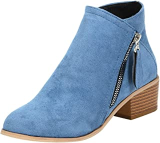 〓COOlCCI〓Women's Closed Toe Side Zipper Ankle Bootie, Pointed Toe Slip On Low Heeled Flats Suede Boots Western Bootie