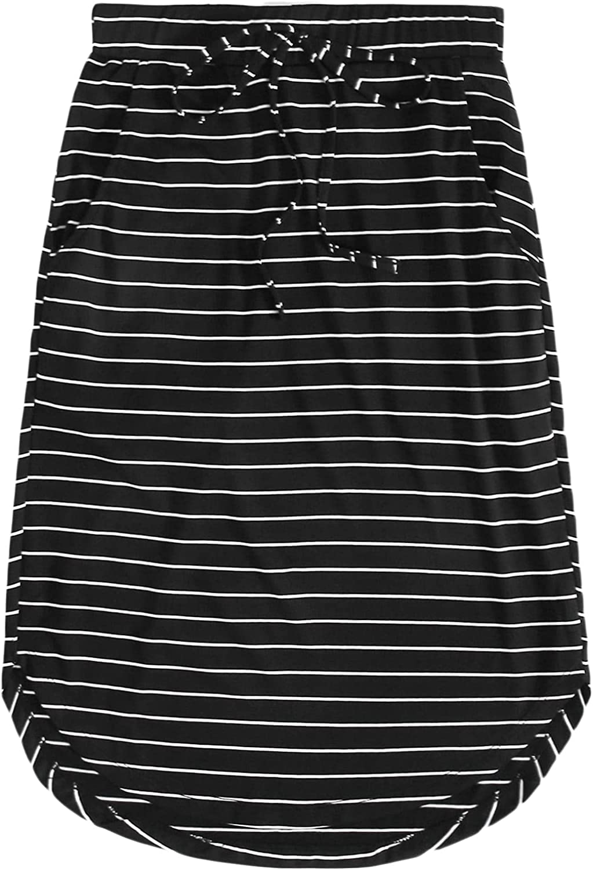 Milumia Women's Striped Curved Hem Elastic Waist Knee Length Skirt with Pocket