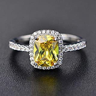 Wenbin Fashion Lady 925 Sterling Silver Princess Cut Cubic Zirconia Citrine Ring Wedding Ring Wedding Jewelry Size 5-10 (US coe 7)