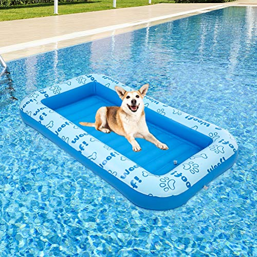 BINGPET Inflatable Dog Pool Float - Dog Raft for Pool and Lake in Summer, Durable and Foldable Pet...