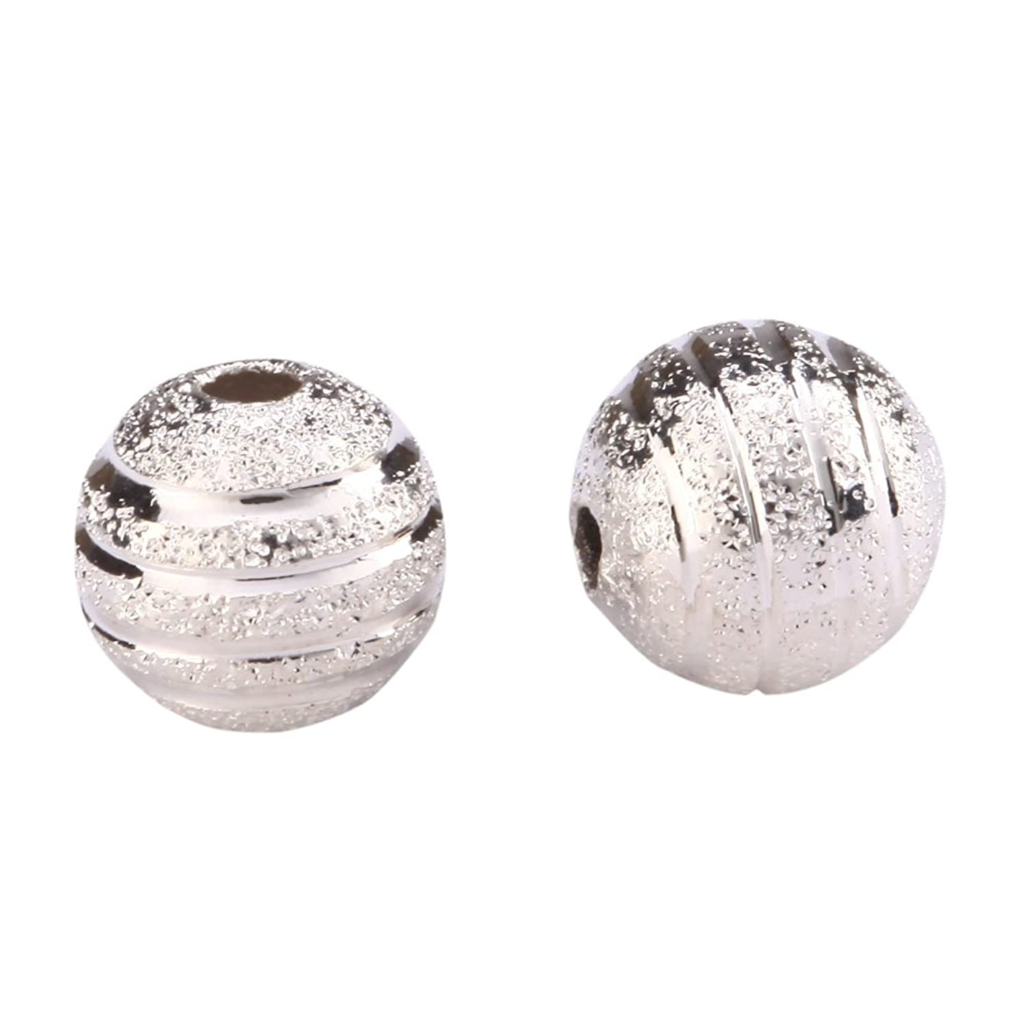 100pcs Top Quality 10mm Ribbon Pattern Spacer Beads Beautiful Round Metal Beads Sterling Silver Plated Brass CF10-10