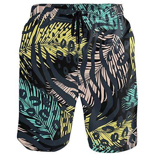 visesunny Leopard Palm Leaf Print Men's Swim Trunks Quick Dry Summer Surf Beach Board Shorts with Mesh Lining/Side Pockets