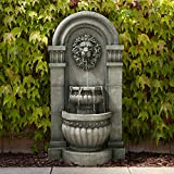 John Timberland Lion Face Roman Outdoor Floor Water Fountain with Light LED 50' High 2-Tier for Yard Garden Patio Deck Home