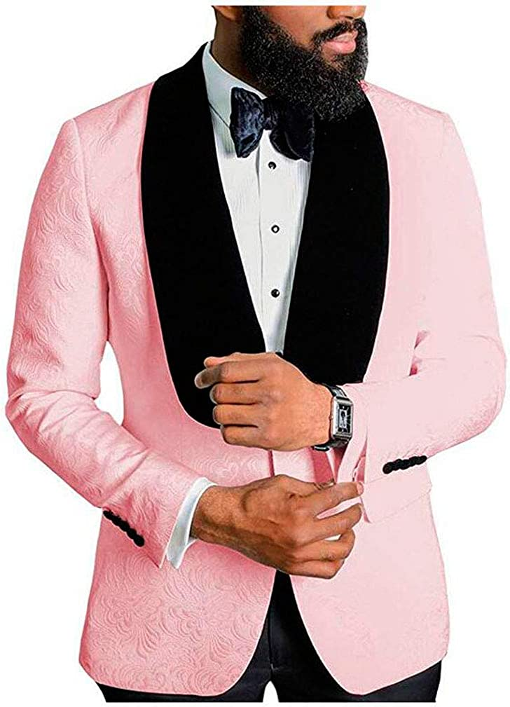 Men's Shawl Lapel Pink Floral Blazer One Button Regular Fit Prom Party Jacket Dinner Coat Pink 42/36