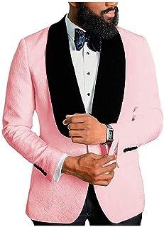Men's Shawl Lapel Floral Blazer One Button Regular Fit Prom Party Jacket Dinner Coat