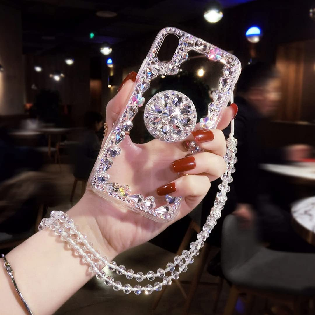 ISYSUII Diamond Glitter Case for iPhone 7 Plus with Ring Holder Kickstand Bling Rhinestone Crystal Cute Bling Case with Crossbody Strap Neck Lanyard Shockproof Protective Case,Clear