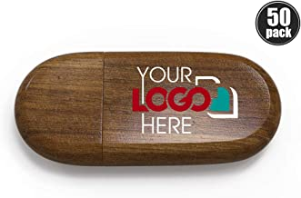 Custom Promotional Wood USB Flash Drive 32GB Personalized USB Stick Printed or Engraved with Your Logo Bulk Wholesale, Walnut 50 Pack