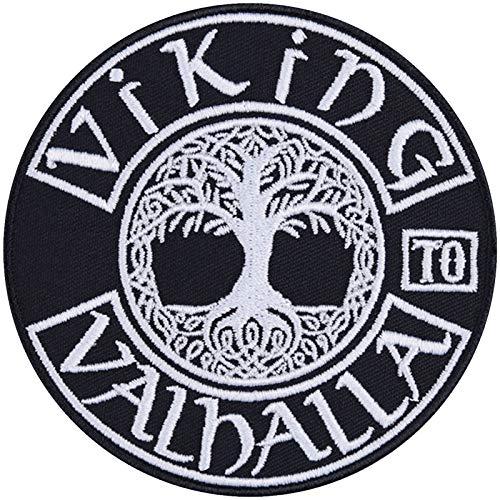 Viking to Valhalla Parche de Vikings para coser o planchar, diseño de árbol de la vida, vikingo, regalo para motociclistas, para usar en chaqueta/chaleco/jeans/botas, 90 x 90 mm