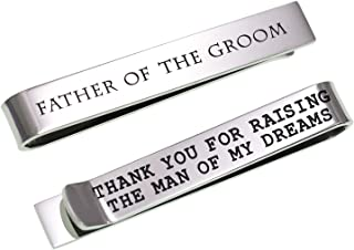 LParkin Father of The Bride Gifts Father of The Groom Gifts Wedding Tie Clips Gifts for Groomsmen from The Bride Stainless Steel Tie Bars
