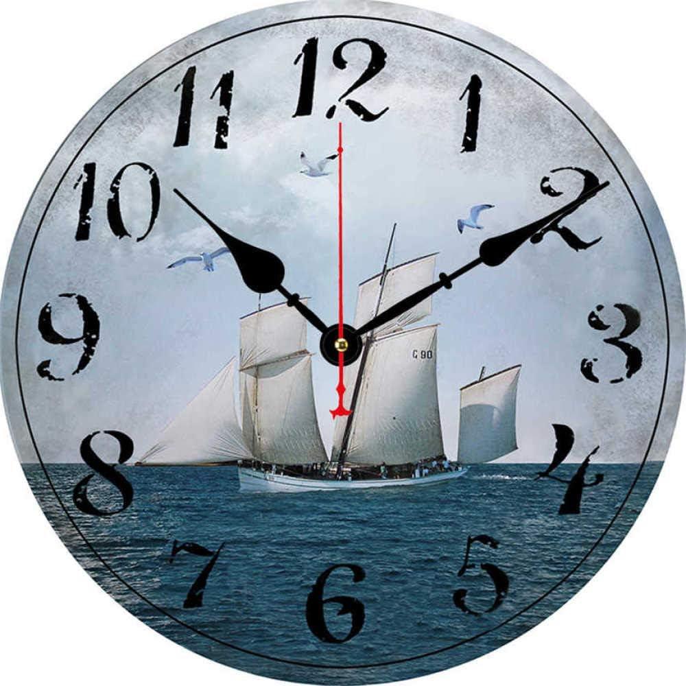 Amazon.com mubgo Wall Clocks Boat Sailing Clock Ocean Scenery ...