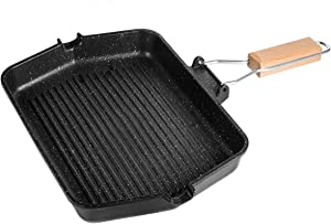 Ebuybuy Nonstick Cast Iron Grill Pan - 12-Inch Kitchen Square Cast Iron Skillet Grilling Pan, Enameled Cast Iron Skillet Steak Pan W/Side Drip Spout For Electric Stovetop, Induction, Gas (B)
